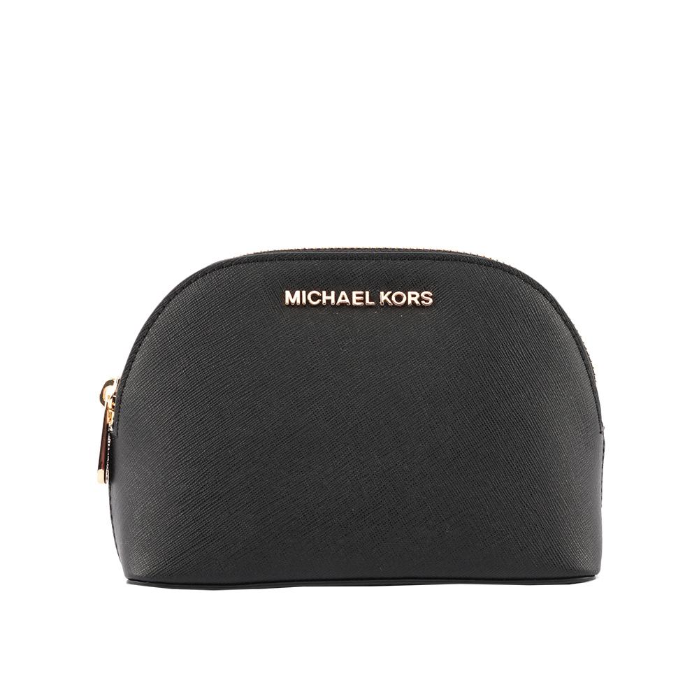 【MICHAEL KORS】防刮皮革金字化妝包(黑色) 35T8GTVU3L BLACK