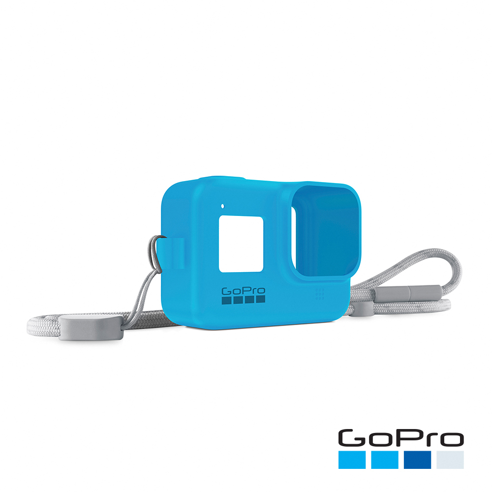 【GoPro】HERO8 Black專用矽膠護套+繫繩-晴空藍AJSST-003(忠欣公司貨)