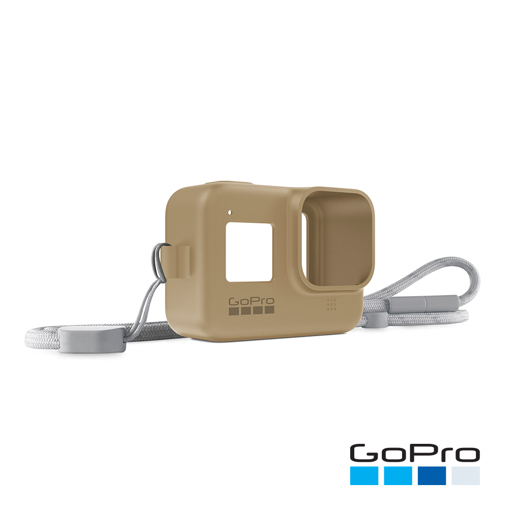 【GoPro】HERO8 Black專用矽膠護套+繫繩-飛沙棕AJSST-006(忠欣公司貨)