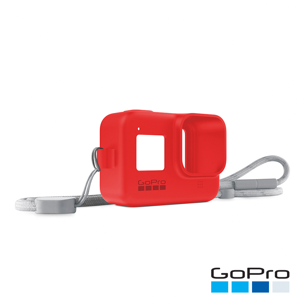 【GoPro】HERO8 Black專用矽膠護套+繫繩-爆竹紅AJSST-008(忠欣公司貨)