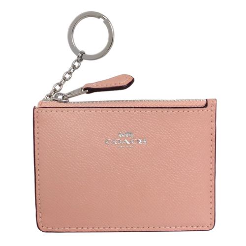 COACH粉紅防刮皮革後卡夾鑰匙零錢包