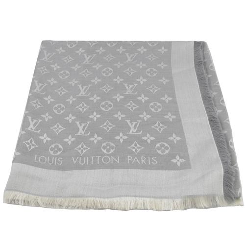 Louis Vuitton LV M70804 Monogram Denim 經典花紋羊毛絲綢披肩圍巾.珍珠灰_現貨