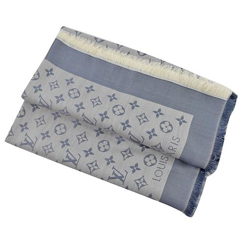 Louis Vuitton LV M71382 Monogram Denim 經典花紋羊毛絲綢披肩圍巾.軍藍_預購