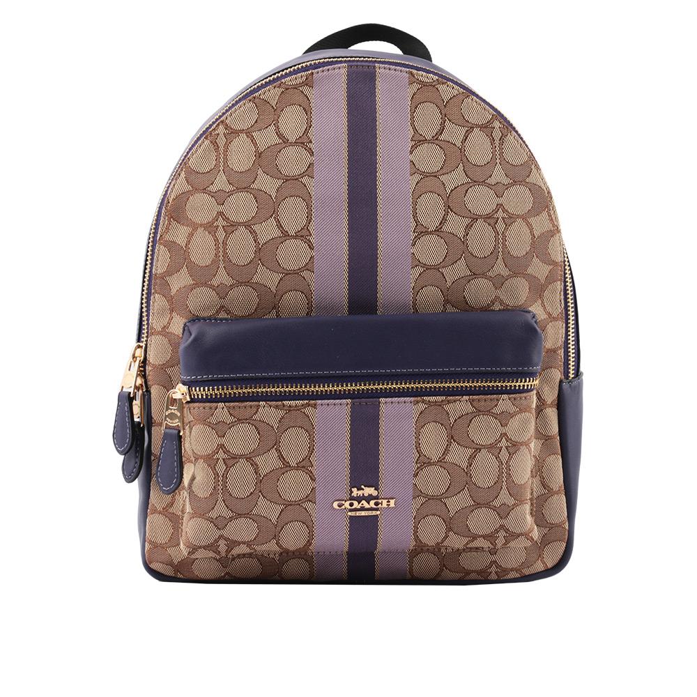 【COACH】緹花布+皮革條紋後背包(卡其/紫色) F68034 IMPUP
