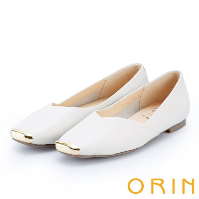 【ORIN】率性簡約 金屬方頭牛皮平底鞋(米色)