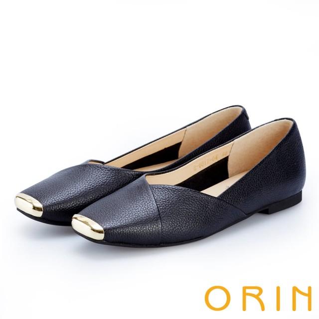 【ORIN】率性簡約 金屬方頭牛皮平底鞋(黑色)
