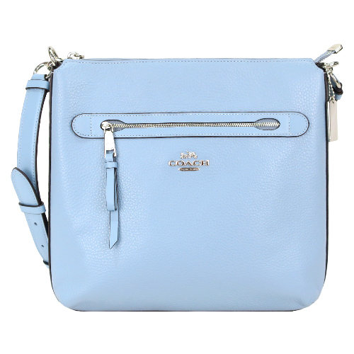COACH 荔枝紋皮革前拉鍊袋斜背包-矢車菊藍