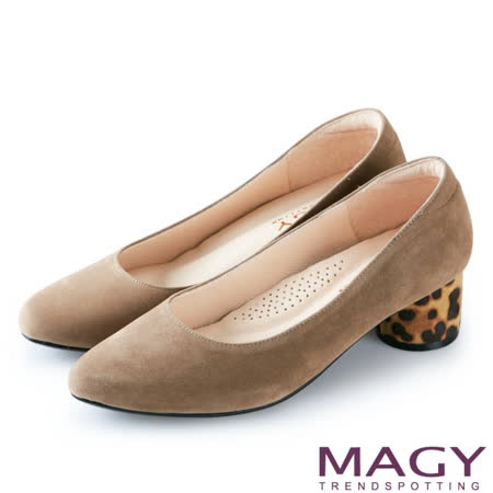【MAGY】 豹紋鞋跟絨布粗跟鞋