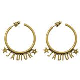 Christian Dior J\'\'\'\'ADIOR 字母復古鍍金大圈耳環.金