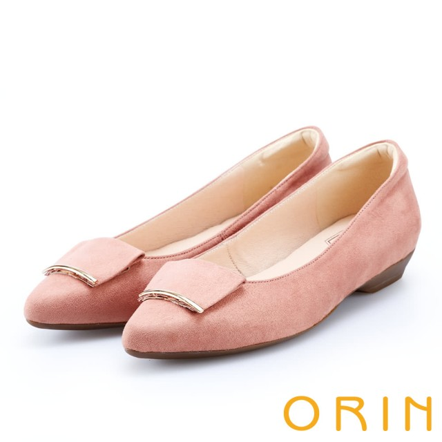 【ORIN】優雅OL 絨面方版布飾低跟鞋(粉紅)