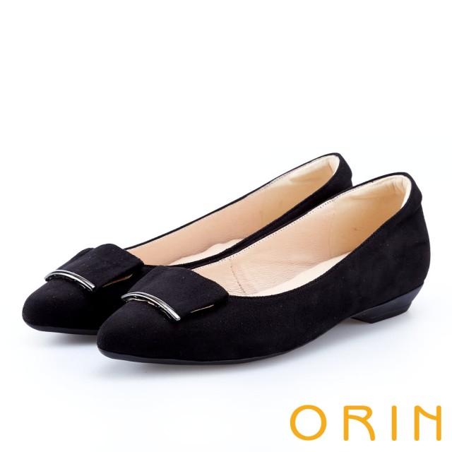 【ORIN】優雅OL 絨面方版布飾低跟鞋(黑色)
