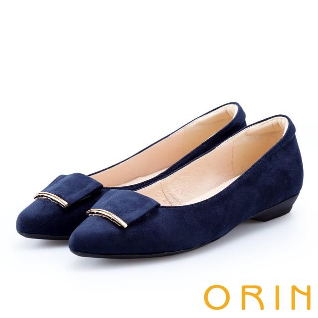 【ORIN】優雅OL 絨面方版布飾低跟鞋(深藍)