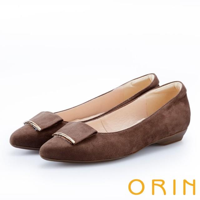 【ORIN】優雅OL 絨面方版布飾低跟鞋(可可)