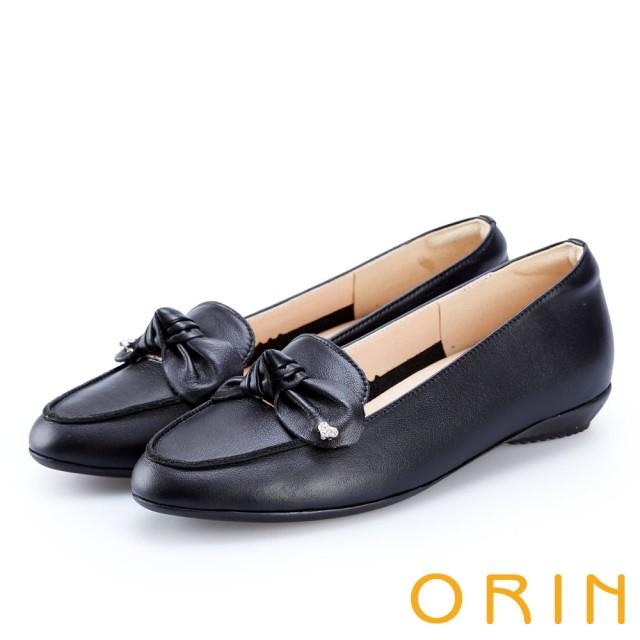 【ORIN】俏麗女孩 真皮蝴蝶結愛心鑽飾樂福鞋(黑色)