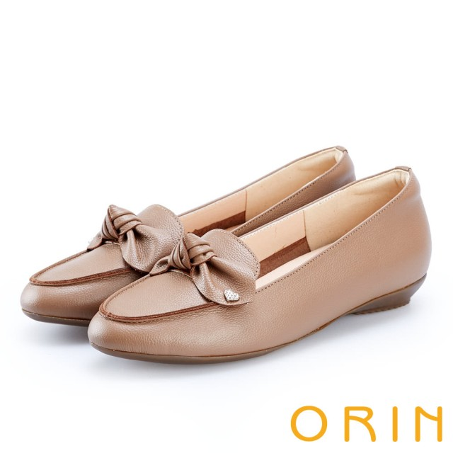 【ORIN】俏麗女孩 真皮蝴蝶結愛心鑽飾樂福鞋(可可)