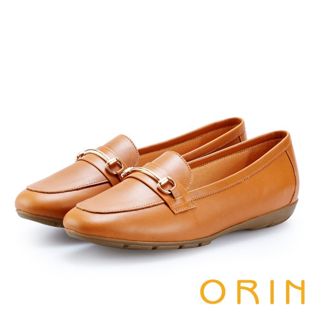 【ORIN】復古樂活主義 氣質馬蹄扣牛皮百搭樂福鞋(棕色)
