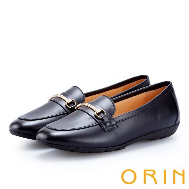 【ORIN】復古樂活主義 氣質馬蹄扣牛皮百搭樂福鞋(黑色)