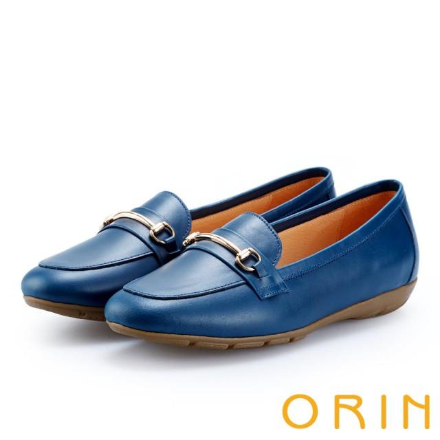 【ORIN】復古樂活主義 氣質馬蹄扣牛皮百搭樂福鞋(藍色)