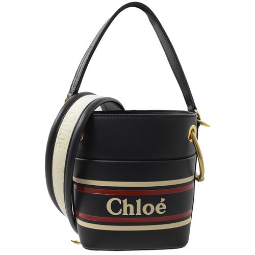 CHLOE Roy Mini 小牛皮束口手提兩用水桶包.海軍藍