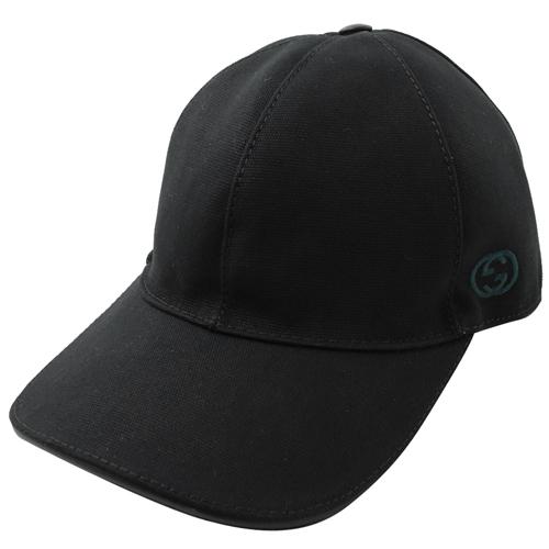 GUCCI 刺繡LOGO棉質棒球帽/鴨舌帽.黑