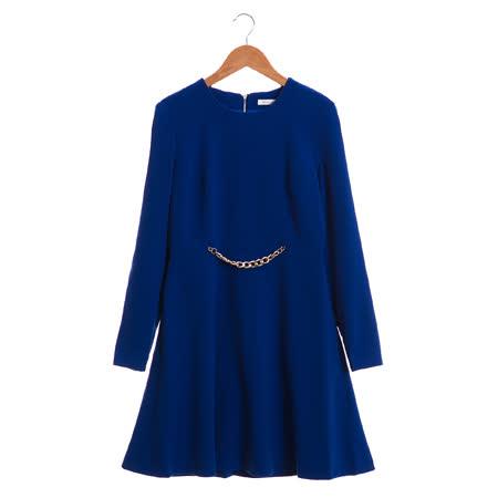 Jessica Red 美姬腰鍊素色長袖洋裝-藍