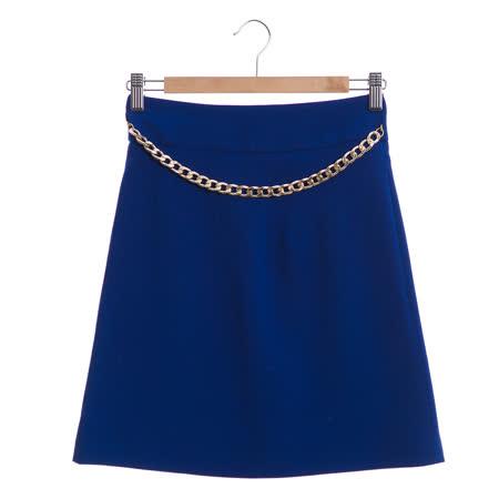 Jessica Red 個性金鍊造型A-line裙子-藍