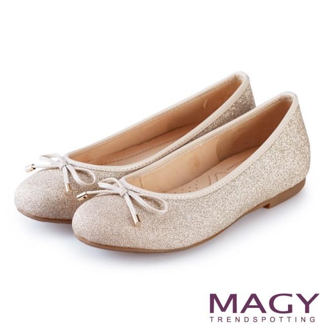 【MAGY】清新甜美女孩 金蔥亮布蝴蝶結平底娃娃鞋(粉色)
