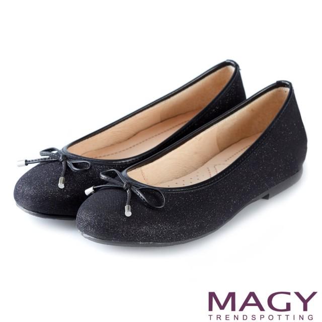 【MAGY】清新甜美女孩 金蔥亮布蝴蝶結平底娃娃鞋(黑色)