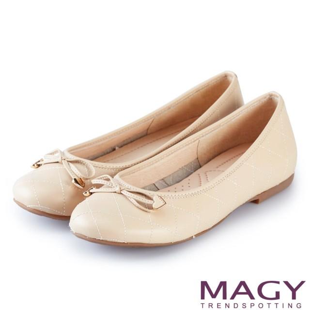 【MAGY】清新甜美女孩 菱格紋縫線真皮平底娃娃鞋(粉色)