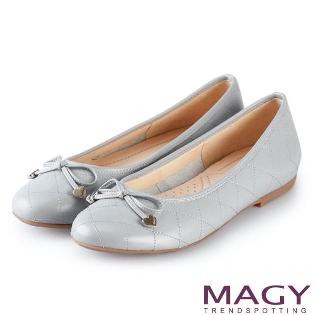 【MAGY】清新甜美女孩 菱格紋縫線真皮平底娃娃鞋(淺藍)