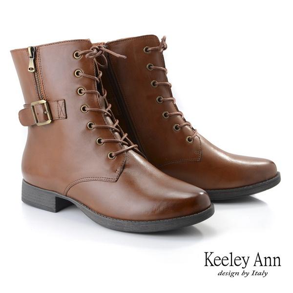 Keeley Ann極簡魅力 金屬釦側拉鍊綁帶全真皮短靴(棕色)987033125