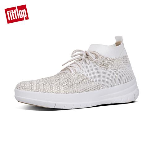 【FitFlop】UBERKNIT SLIP-ON HIGH TOP SNEAKER 輕量繫帶高筒休閒鞋(金蔥款) 金色/都會白