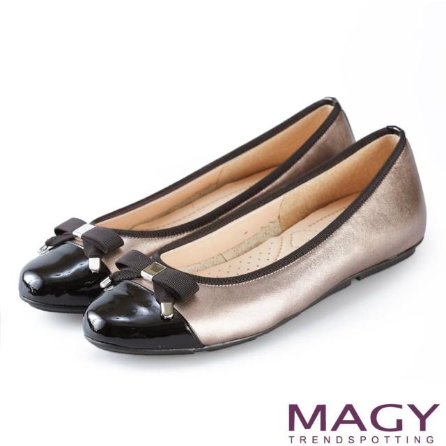 【MAGY】清新氣質系女孩 蝴蝶結真皮娃娃鞋(錫色)