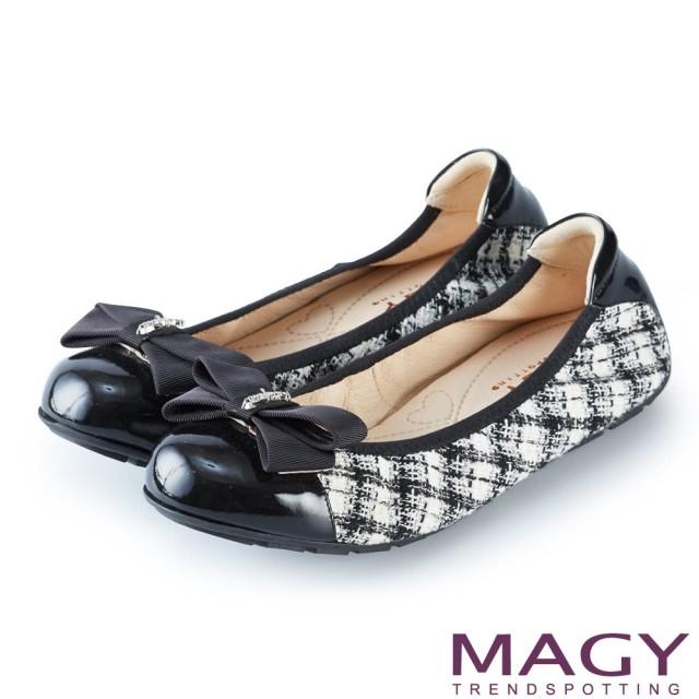 【MAGY】甜美舒適 蝴蝶結鬆緊帶牛皮娃娃鞋(毛呢黑)