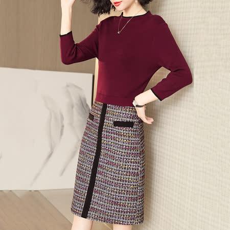 Jisen 優雅出色針織拼接高腰洋裝
