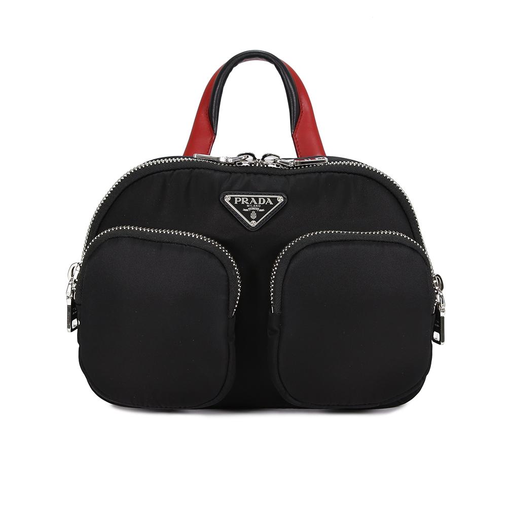 PRADA Nylon Cargo 尼龍雙口袋三角LOGO 手提後背包(黑/紅)