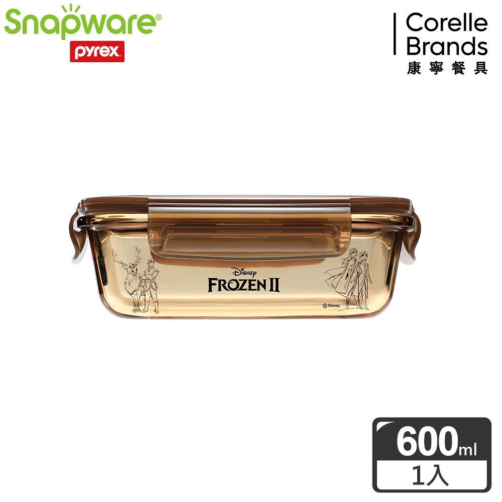 【Snapware康寧密扣】冰雪奇緣耐熱玻璃保鮮盒長方型600ml