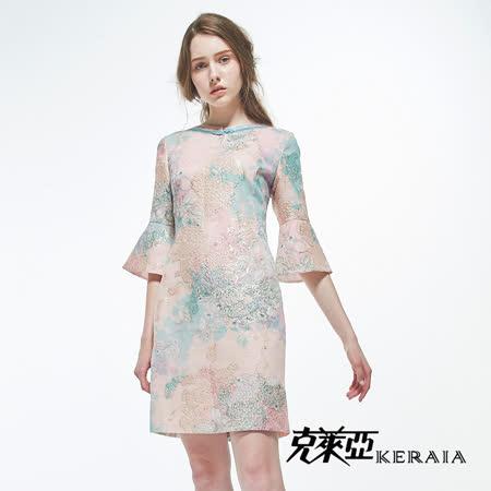 克萊亞 浪漫暈染繡線變化袖洋裝