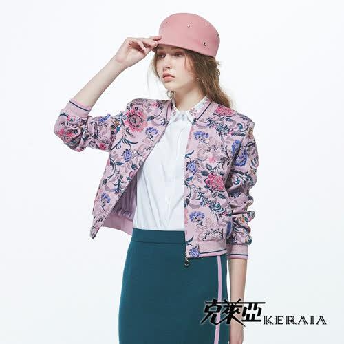 【KERAIA 克萊亞】花藤綻放華麗羊毛棒球外套