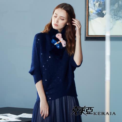【KERAIA 克萊亞】點點亮片美麗諾羊毛上衣