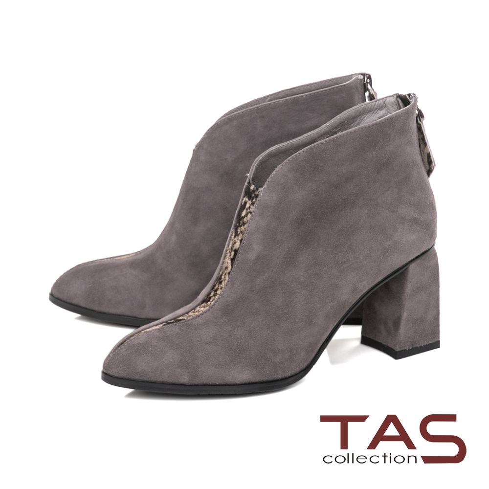 TAS 素面羊麂皮拼接馬毛後拉鍊粗跟短靴-冬季灰