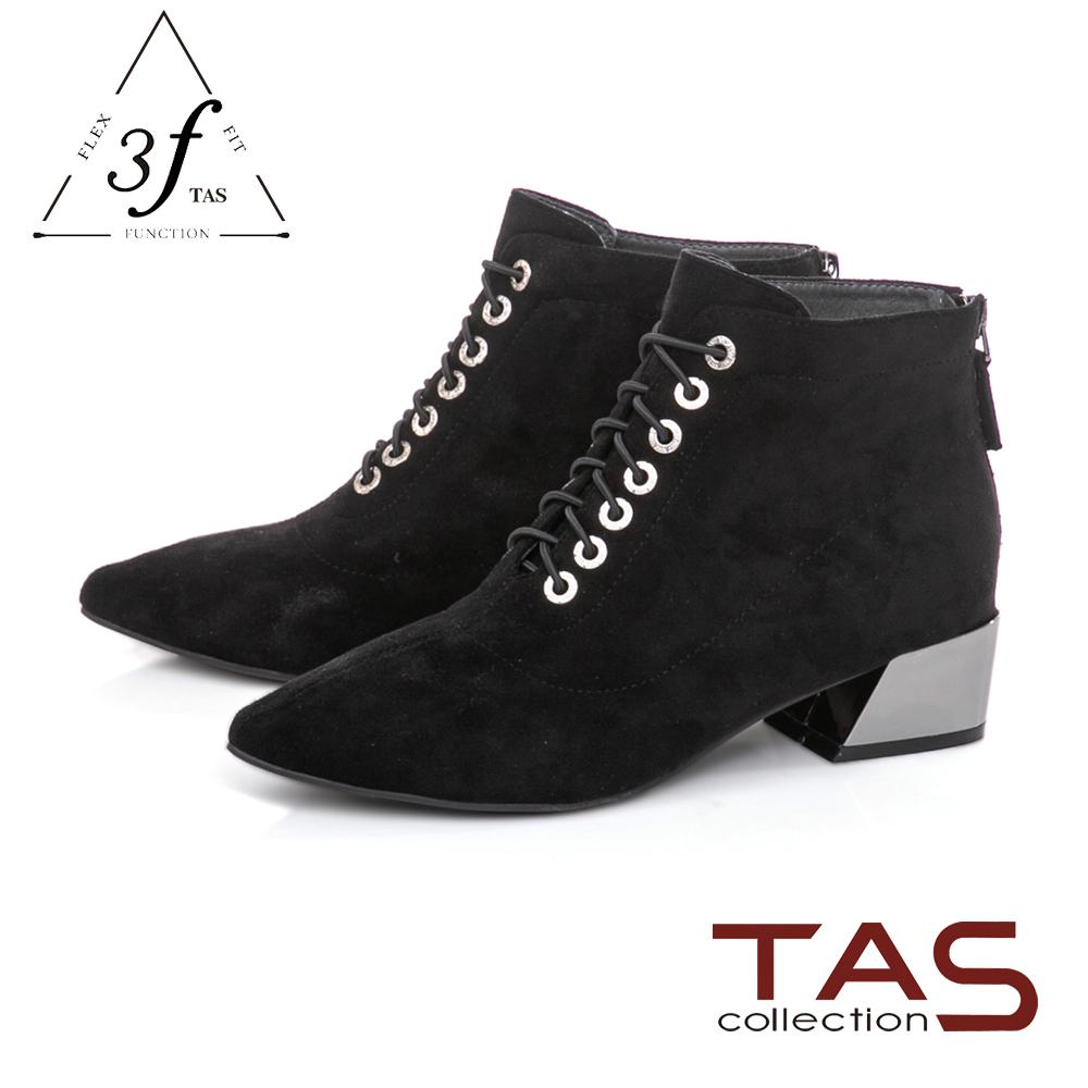 TAS  質感絨布綁帶造型側拉鍊粗跟短靴-百搭黑