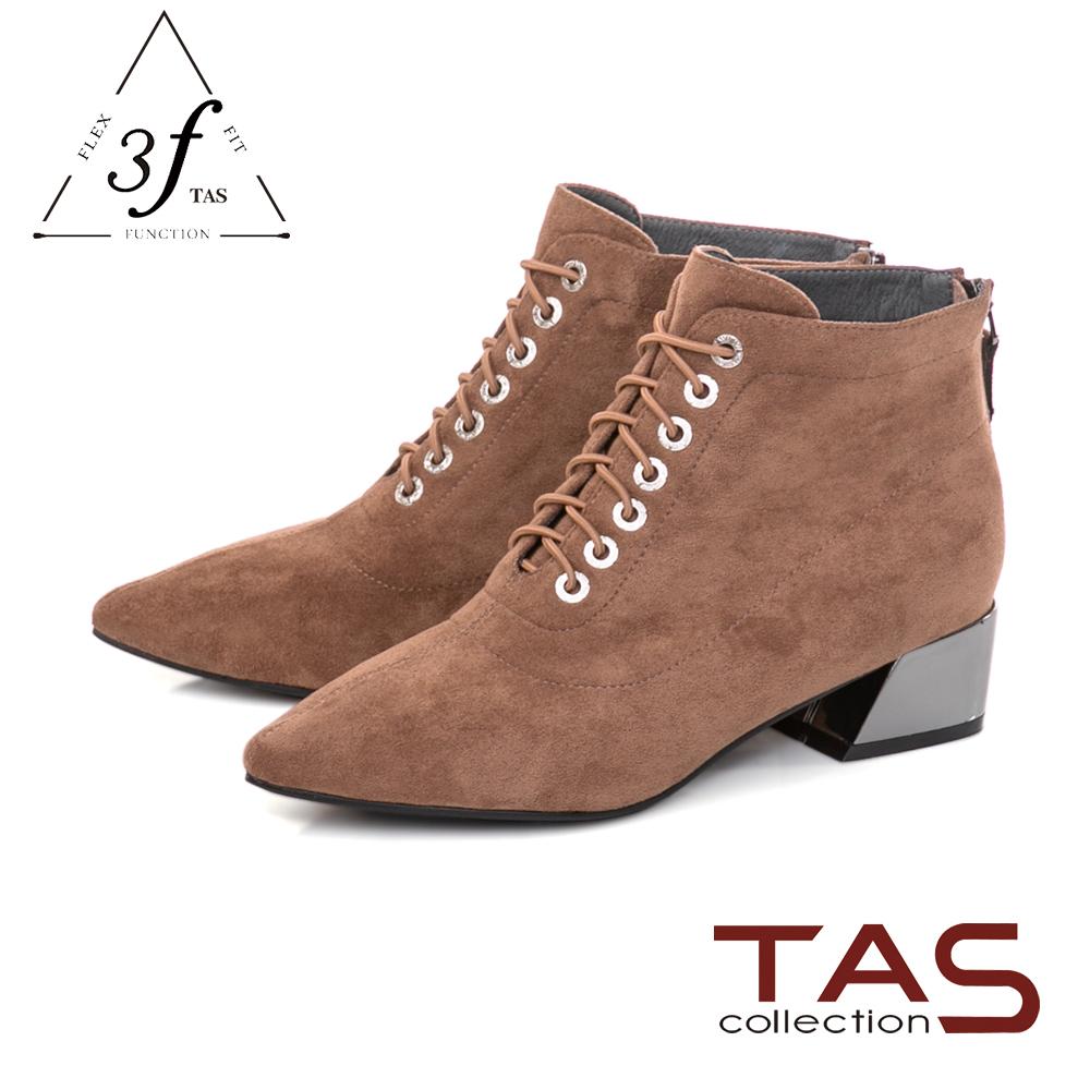 TAS  質感絨布綁帶造型側拉鍊粗跟短靴-迷人卡其