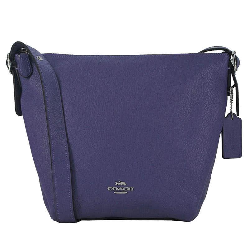 【COACH】立體馬車LOGO荔枝紋全皮革水桶斜背包(紫色)