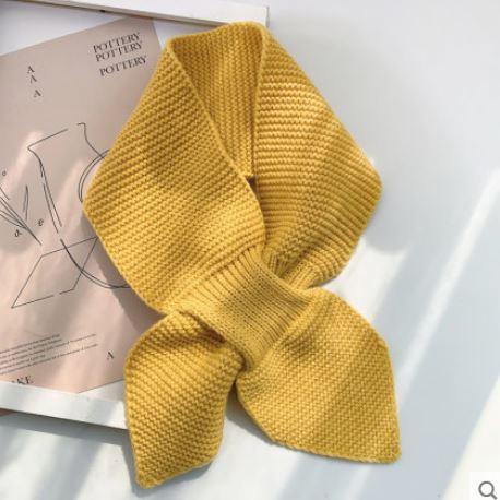 【梅迪亞】冬季保暖波浪紋交叉領巾-姜黃色