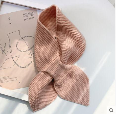 【梅迪亞】冬季保暖波浪紋交叉領巾-粉紋