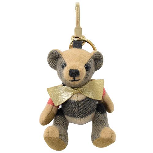 BURBERRY  Thomas格紋泰迪熊鑰匙圈吊飾.卡其灰