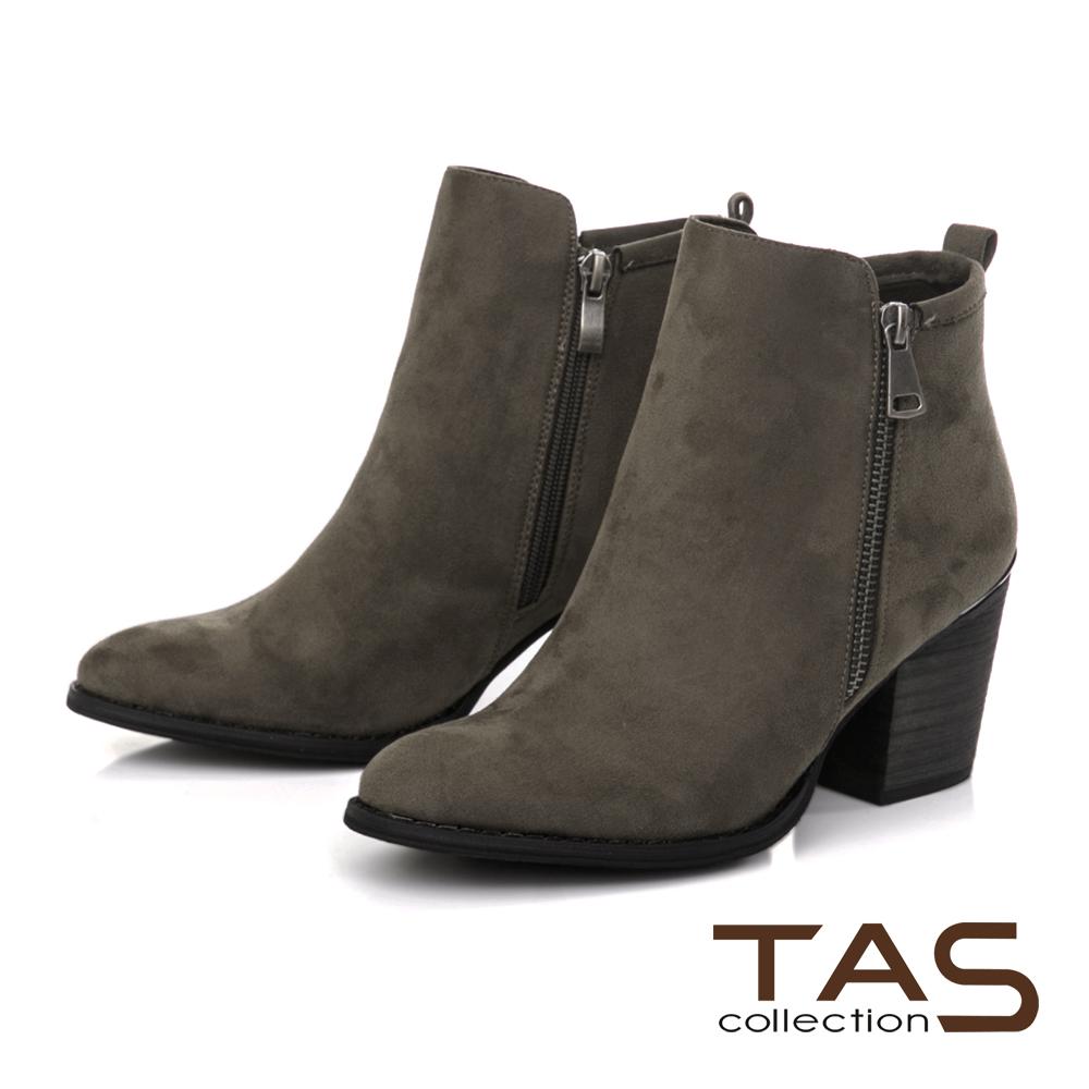TAS側拉鍊素面質感粗跟短靴-墨綠