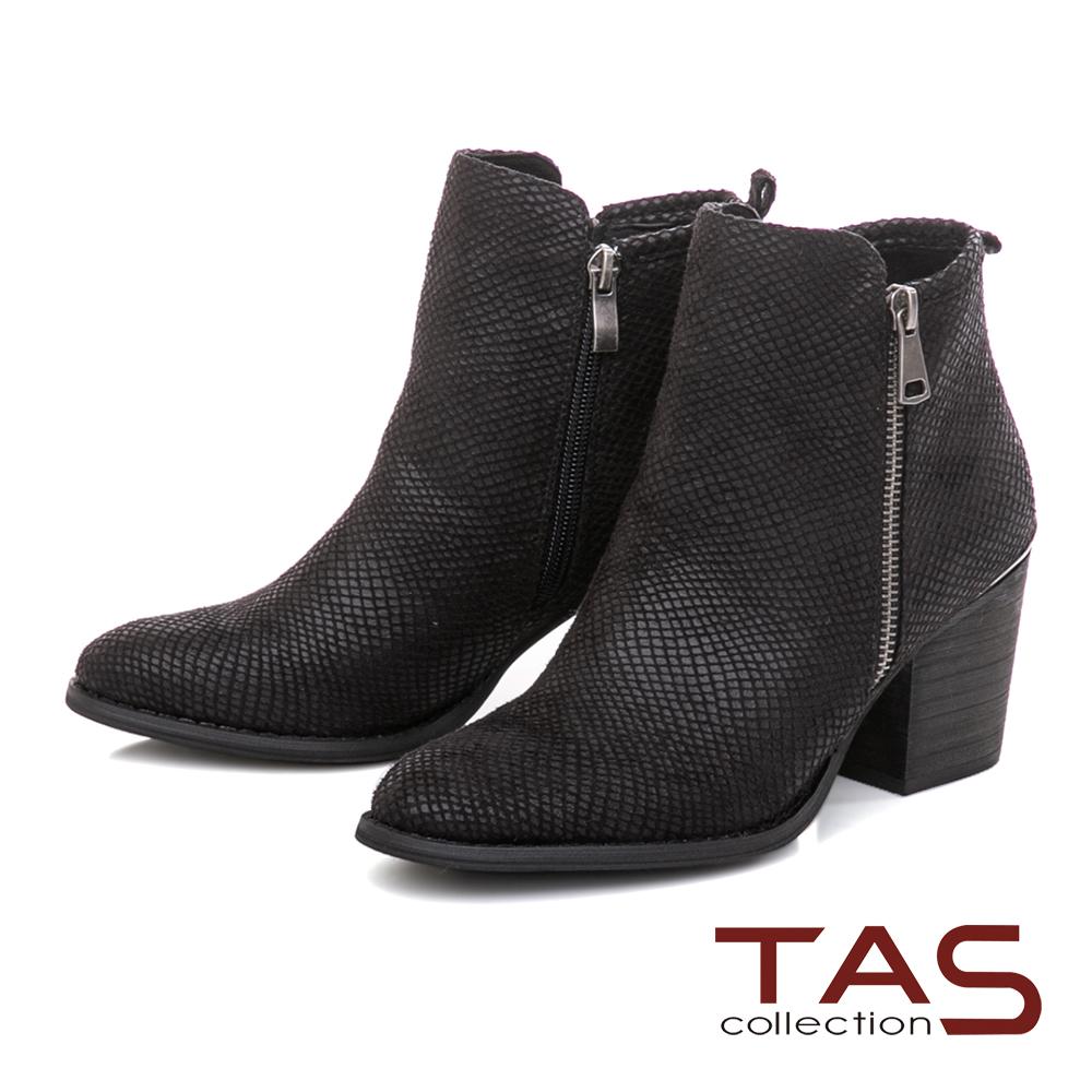 TAS  側拉鍊素面質感粗跟短靴-質感黑