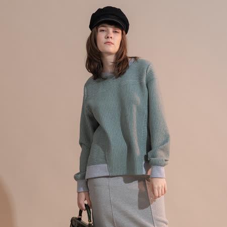 PANGCHI 龐吉 高質感彈力條紋圓領運動衫